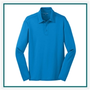 Port Authority Men's Silk Touch Performance Long Sleeve Polo K540LS with Custom Embroidery, Custom Logo Port Authority Polos, Embroidered Port Authority Polos, Embroidered Port Authority, Port Authority Embroidery