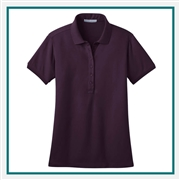 Port Authority Ladies Stretch Pique Polo with Custom Embroidery, Port Authority Custom Polos, Port Authority Custom Logo Gear