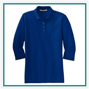 Port Authority Ladies Silk Touch 3/4 Sleeve Polo Custom Embroidered