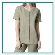 WonderWink Women's Short Sleeve Snap Front Scrub Top Custom Embroidered
