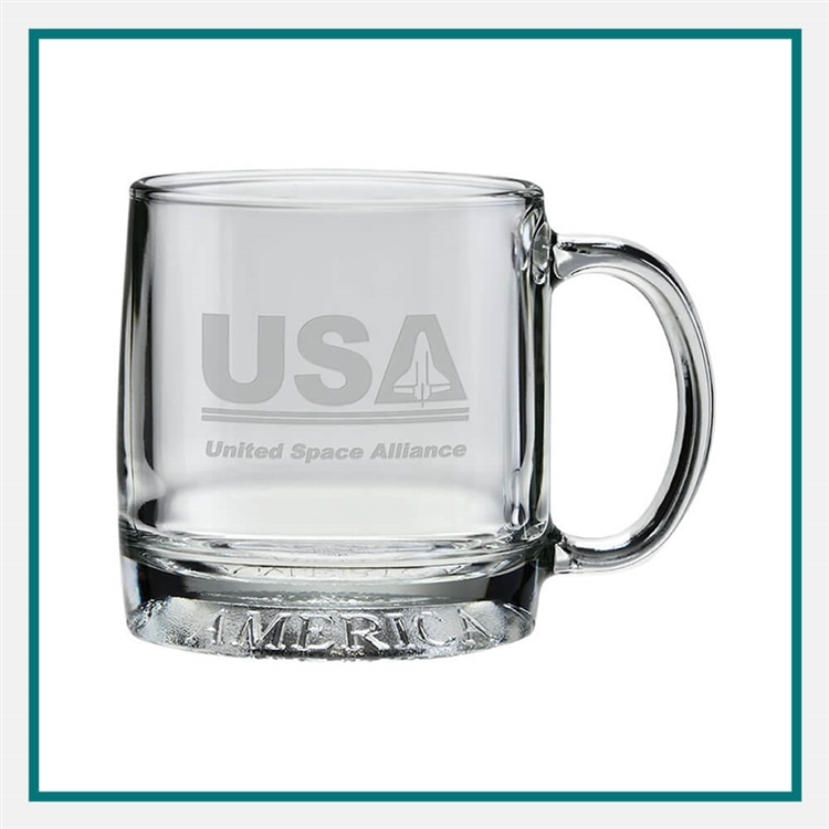 12 oz. The Exclusive Mug America, with Custom Logo, Custom Logo Coffee Mugs, Glass America Item Number 10E, Custom Engraved Coffee Mugs