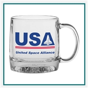 12 oz. The Exclusive Mug America, Custom Logo Glass Coffee Mug, Glass America Item Number 10, Custom printed mugs