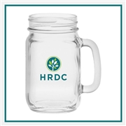 16 oz. Handled Jar, Custom Logo Glass Jars, Glass America Item Number 1213, Custom printed jars