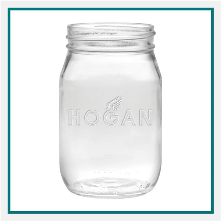 16 oz. Shindig Glass Jar, with Custom Logo, Custom Logo Mason Jars, Glass America Item Number 1301E, Custom Engraved Jars