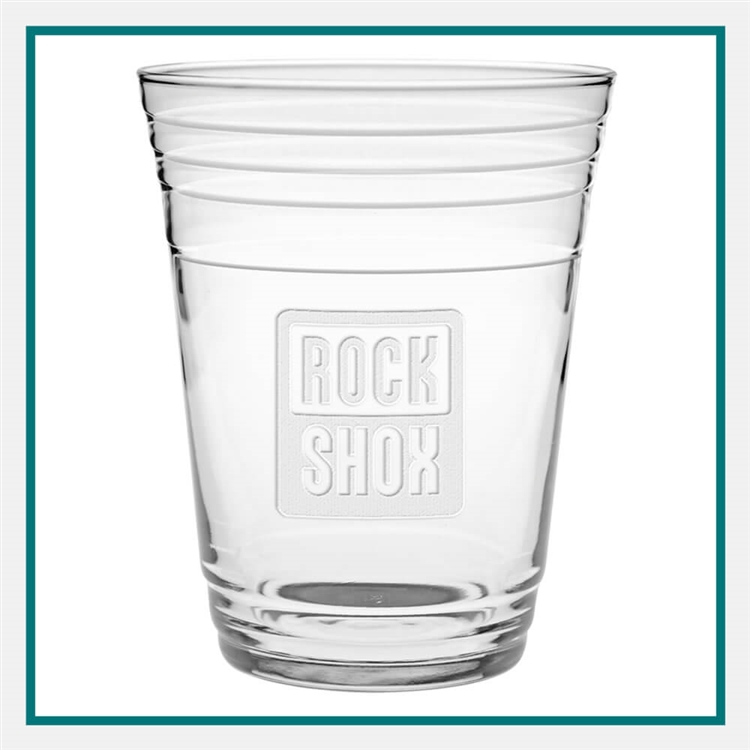 16 oz. Glass Fill Up Cup, with Custom Logo, Custom Logo Glasses, Glass America Item Number 1549E, Custom Engraved Glasses