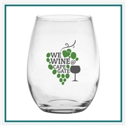 15 oz. Stemless White Wine, with Custom Logo, Custom Logo Wine Glasses, Glass America Item Number 1466, Custom Printed Glasses