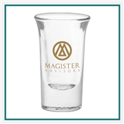 1 oz. Tall Shot Glass, with Custom Logo, Custom Logo Shot Glasses, Glass America Item Number 198, Custom Printed Glasses