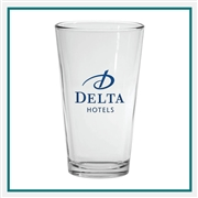 16 oz. Pint Glass, with Custom Logo, Custom Logo Pint Glasses, Glass America Item Number 215, Custom Printed Glasses