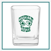 2.25 oz. Square Shot Glass, with Custom Logo, Custom Logo Shot Glasses, Glass America Item Number 218, Custom Printed Glasses