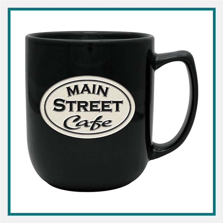17 oz. Noble Ceramic Mug, with Custom Logo, Custom Logo Coffee Mugs, Glass America Item Number 27700E, Custom Engraved Coffee Mugs