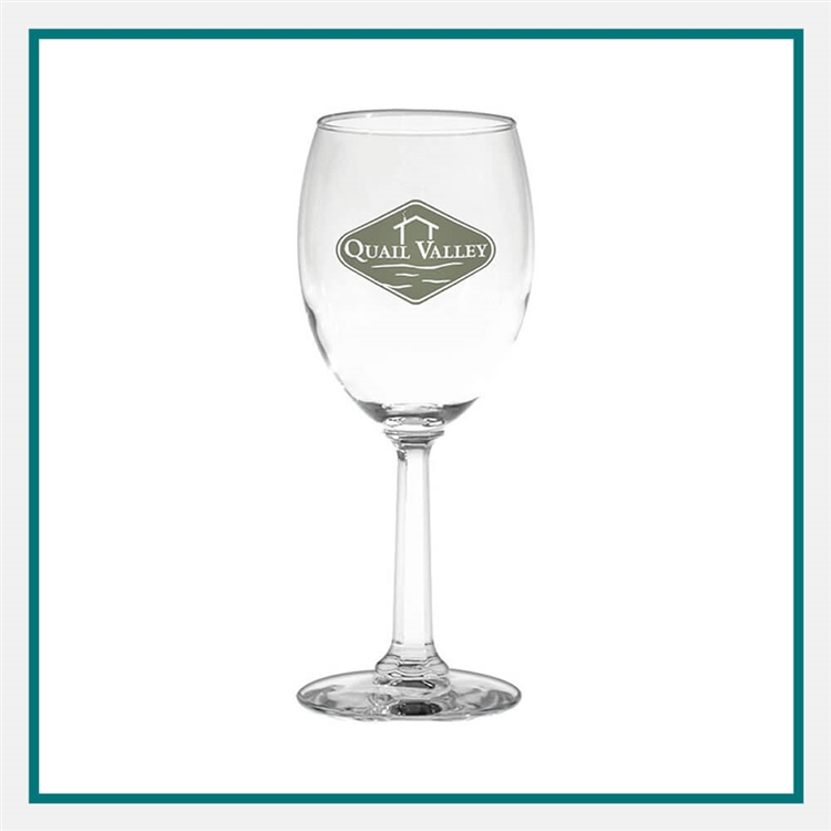 10 oz. Napa Valley Goblet-Optic, with Custom Logo, Custom Logo Wine Glasses, Glass America Item Number 388, Custom Printed Glasses
