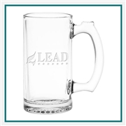12 oz. Thumbprint Mug, with Custom Logo, Custom Logo Beer Mugs, Glass America Item Number 414E, Custom Engraved Beer Mugs