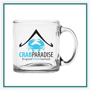 13 oz. Clear Glass Coffee Mug, Custom Logo Glass Coffee Mug, Glass America Item Number 442, Custom printed mugs