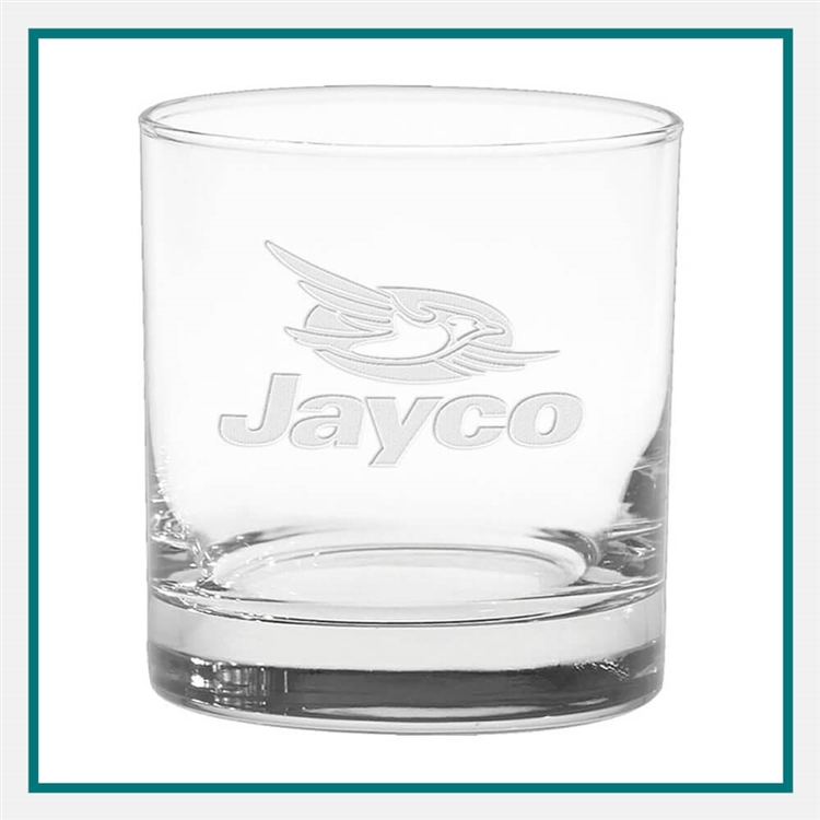 11 oz. Executive Old Fashion Glass, with Custom Logo, Custom Logo Executive Glasses, Glass America Item Number 61, Custom Engraved Glasses