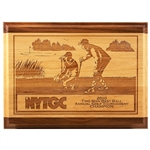 Origins Red Alder & Walnut Engraved Plaque Small with Custom Logo, Origins Branded Golf Awards