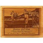Origins Red Adler Golf Wood Plaque Large with Custom Logo, Origins Co-Branded Golf Awards
