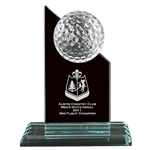 Origins Small Crystal Golf Ball Pinnacle Award Trophy with Custom Logo, Origins Co-Branded Golf Awards