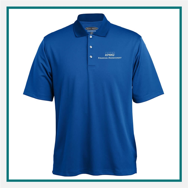 Pebble Beach Men's Tonal Check Polo with Custom Embroidery, Pebble Beach Custom Polos, Promo Polos