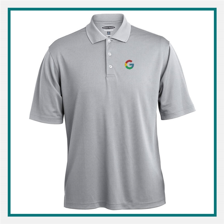 Pebble Beach Grid Texture Polo with Custom Embroidery, Pebble Beach Custom Polos, Pebble Beach Custom Logo Gear