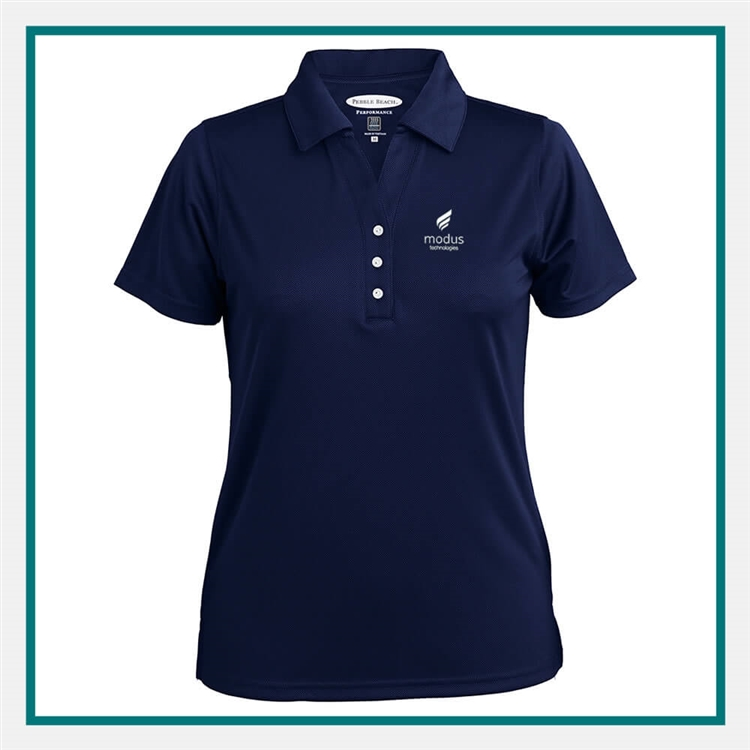 Pebble Beach L Grid Texture Polo Custom Embroidery