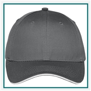 Port & Company Unstructured Sandwich Bill Cap Custom Embroidery