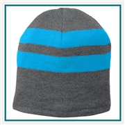 Port & Company Fleece-Lined Striped Beanie Cap C922 with Custom Embroidery, Port & Company C922 Custom Embroidered, Port & Company Fleece-Lined Striped Beanie Cap, Custom Logo Fleece-Lined Striped Beanie Cap, Port & Company Embroidered Hats