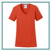 Port & Company Ladies Performance Blend V-Neck Tee LPC381V with Custom Embroidery, Custom Embroidered Port & Company T-Shirts, Hanes LPC381V T-Shirt Best Price