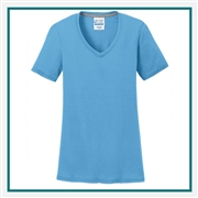 Port & Company Ladies Performance Blend V-Neck Tee LPC381V with Silkscreen Logo, Custom Logo Port & Company T-Shirts, Port & Company LPC381V T-Shirt Best Price
