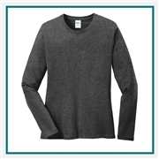 Port & Company Ladies Long Sleeve Cotton T-Shirt. LPC54LS with Custom Embroidery, Custom Embroidered Port & Company T-Shirts, Hanes LPC54LS T-Shirt Best Price