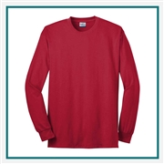 Port & Company Long Sleeve All-American Tee USA100LS with Custom Embroidery, Custom Embroidered Port & Company T-Shirts, Port & Company USA100LS T-Shirt Best Price