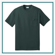 Port & Company -50/50 Cotton/Poly T-Shirt with Pocket PC55P with Custom Embroidery, Custom Embroidered Port & Company T-Shirts, Port & Company PC55P T-Shirt Best Price