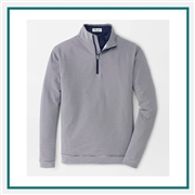 Peter Millar M Perth Mini-Stripe Stretch Loop Terry Quarter-Zip Custom Embroidered
