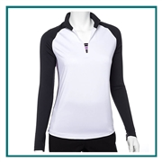 EP New York Women's LS Open Mock Polo w/ Stripe Tape Trim 5411nda with Custom Embroidery, EP New York Corporate Apparel