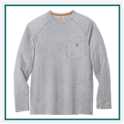 Carhartt Men's Force Cotton Delmont Long Sleeve T-Shirt CT100393with Custom Embroidery, Carhartt Custom Work T-Shirts, Carhartt Custom Logo Gear