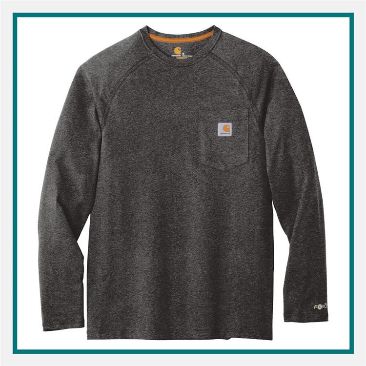 f8a769d0 Carhartt Force Cotton Delmont Long Sleeve T-Shirt CT100393with Custom  Silkscreened, Carhartt Custom Work
