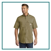 Carhartt Men's Force Ridgefield Solid Short Sleeve Shirt CT102417 with Custom Embroidery, Carhartt Custom Work Shirts, Carhartt Custom Logo Gear