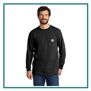 Carhartt Men's Workwear Pocket Long Sleeve T-Shirt CTK126 with Custom Embroidery, Carhartt Custom Work T-Shirts, Carhartt Custom Logo Gear