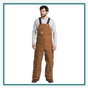 Carhartt Men's Duck Quilt-Lined Zip-To-Thigh Bib Overalls CTR41 with Custom Embroidery, Carhartt Custom Work Wear Overalls, Carhartt Custom Logo Gear