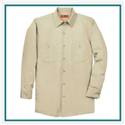 Red Kap Long Size Long Sleeve Industrial Work Shirt with Custom Embroidery, Red Kap Co-Branded Workwear