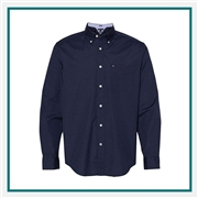 Tommy Hilfiger Men's 100s Two-Ply Polka Dot Shirt with Custom Embroidery, Tommy Hilfiger Custom Dress Shirts, Tommy Hilfiger Custom Logo Apparel