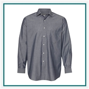 Van Heusen Men's Chambray Spread Flex Collar Shirt with Custom Embroidery, Van Heusen Custom Dress Shirts, Van Heusen Custom Logo Apparel