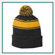 Sport-Tek Stripe Pom Pom Beanie STC26 with Custom Embroidery, Sport Tek STC26 Custom Embroidered, Sport Tek Stripe Pom Pom Beanie, Custom Logo Stripe Pom Pom Beanie, Sport Tek Embroidered Hats