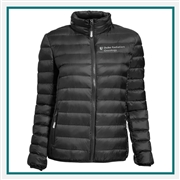 TUMI Women's Packable Puffer Jacket with Custom Embroidery, TUMI Custom Packable Down Jackets, TUMI Custom Logo Gear