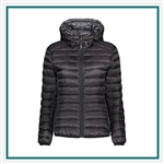 TUMI Women's Pax Hooded Puffer Jacket with Custom Embroidery, TUMI Custom Hooded Puffer Jackets, TUMI Custom Logo Gear