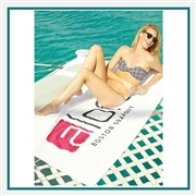 Towel Specialties 35 x 60 Superior Weight White Beach Towel with Tonal Logo Imprint, Towel Specialties Custom Beach Towels, Towel Specialties Corporate Logo Gear