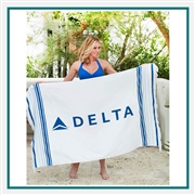Towel Specialties 40 X 63 Turkish Signature Fringed Beach Towel, Custom printed beach towels, screenprinted beach towels, promotional beach towels, custom beach towels, personalized beach towels White, white with stripes