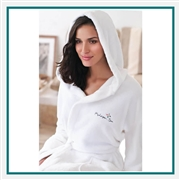 White Hooded Coral Fleece Robe with Custom Embroidery, Custom Embroidered Cotton Robe, Custom Logo Robe, Cotton White Robe