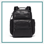 TUMI T Pass Business Class Leather Brief Pack Corporate Logo