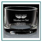 Hand Blown European Crystal Small Grammercy Bowl, Crystal Bowls with Engraved Logo, Crystal Awards, Crystal Bowls