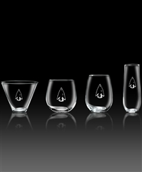 Etched crystal martini glasses,